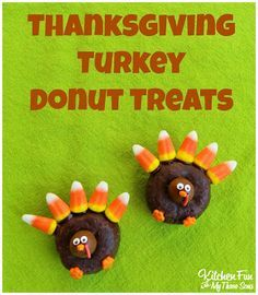 Thanksgiving Turkey Donut Treats...super easy & great for class parties at school! KitchenFunWithMy3Sons.com