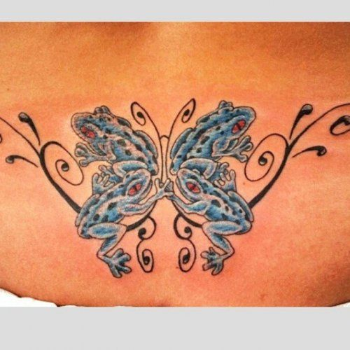 blue frog tattoo on hanlower back