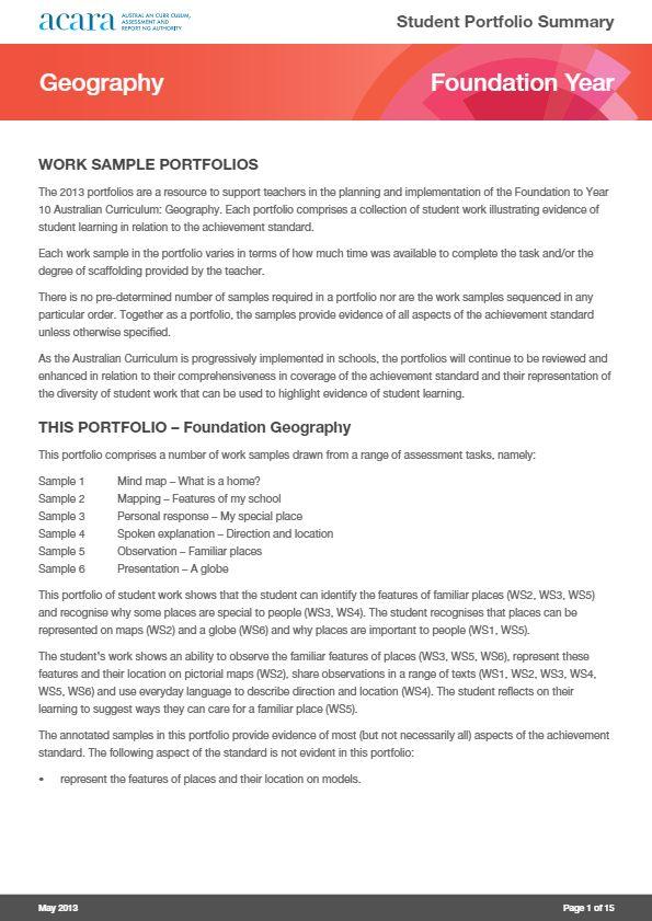 Foundation Year Geography work sample portfolio