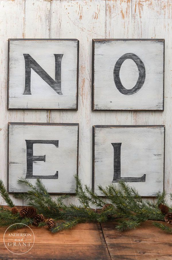 Learn how to create easy distressed Christmas signs to decorate your walls.