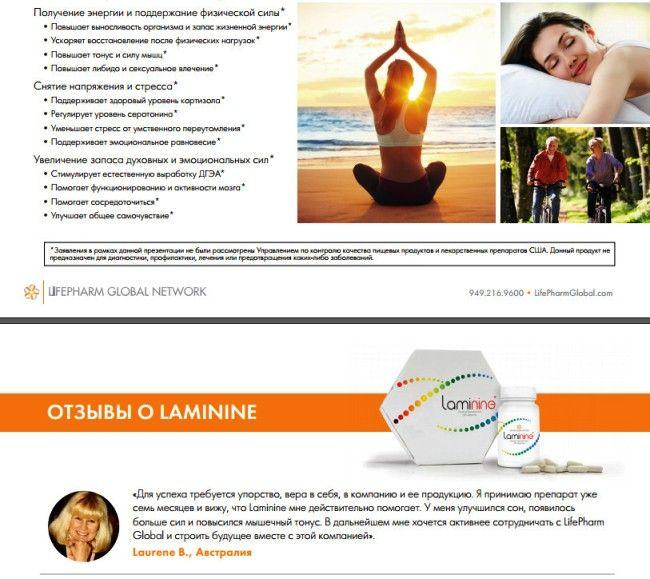 Регулярное употребление Ламинина помогает:  Снять напряжение и стресс. Поддерживать здоровый уровень кортизола.  Регулировать уровень серотонина.  Снижать стресс от физического и умственного переутомления. Улучшить сон и омолодить кожу Смягчить реакцию на стресс  Вырабатывать коллаген для оздоровления кожи  Уменьшить признаки естественного старения