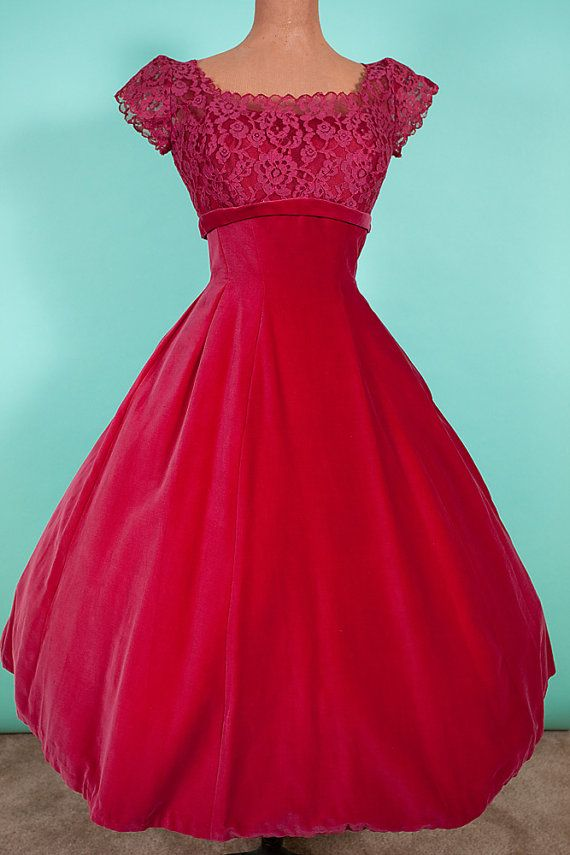 50s Cranberry Velvet and Lace Dress