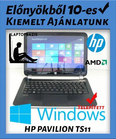 """Kiemelt ajánlatunk: HP PAVILION TS11  - Az ára tartalmazza az ajándék Windows-t - Rendkívül kedvezményes ár (26%-os engedmény) - Ingyenes kiszállítás Nagyon szép állapotú, használt HP Pavilion TS11 touchscreen, gamer laptop, játékra alkalmas AMD A4-1250 processzor, erős AMD Radeon HD 8210 vieokártya, ami könnyen futtatja a nagy teljesítményű programokat. Windows 8 magyar nyelvű operációs rendszer, 500 GB HDD, 11,6"""" HD LED. Billentyűzet nélkül is használható, az érintőképernyő megkönnyíti az"""