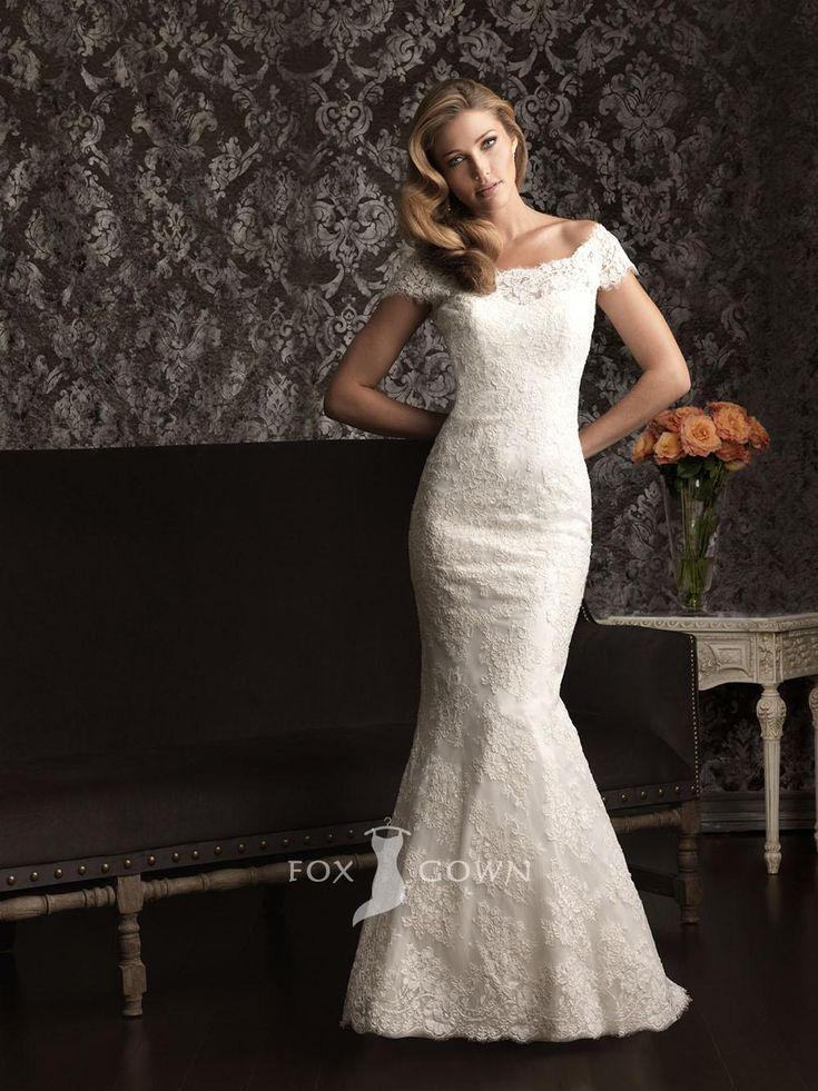 Beautiful lace off the shoulder cap sleeve slim fitted wedding dress with deep v back