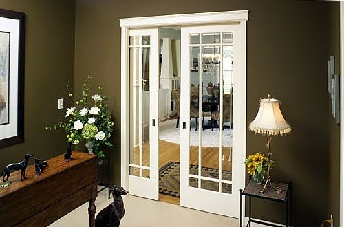 Craftsman style pocket french doors pocket doors for Interior double glass french doors