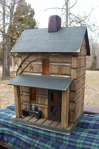 Log Cabin Farmhouse Birdhouse w/Porch from Gooseberry Creek Designs