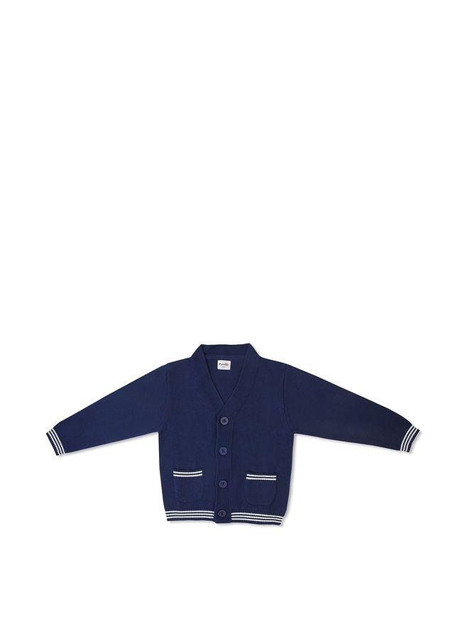 Funkoos Boys Organic Preppy Cardigan (Blue) (0-6 months)