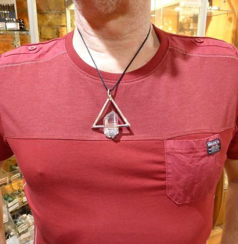 Pendant Tibetan Lemurian Quartz Group in Equilateral Triangle | Substantial 925 Sterling Silver | Atlantean power Piece | Marc James Design | Crystal Heart Melbourne Australia since 1986