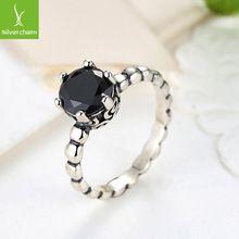Uyumlu 925 Gümüş yüzükler Siyah Kristal Avrupa Fit Orijinal Pandora Düğün Marka Yüzük Takı Noel Hediyesi (Çin (Anakara))