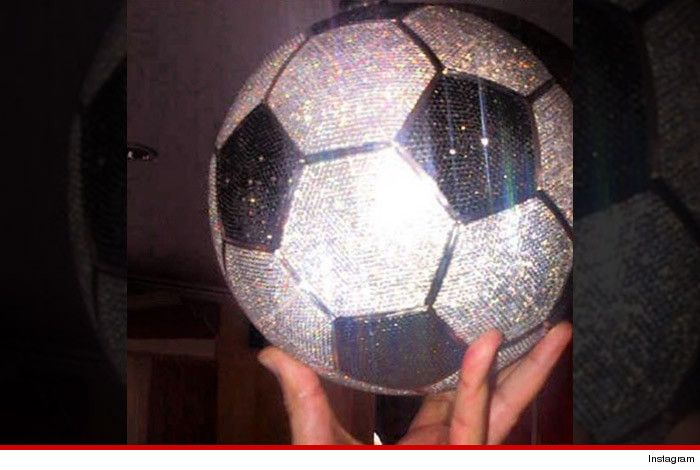 This life-sized soccer ball is actually a work of art made of 72,000 colored diamonds -- 1,250 carats in all! We wouldn't want to try kicking it.