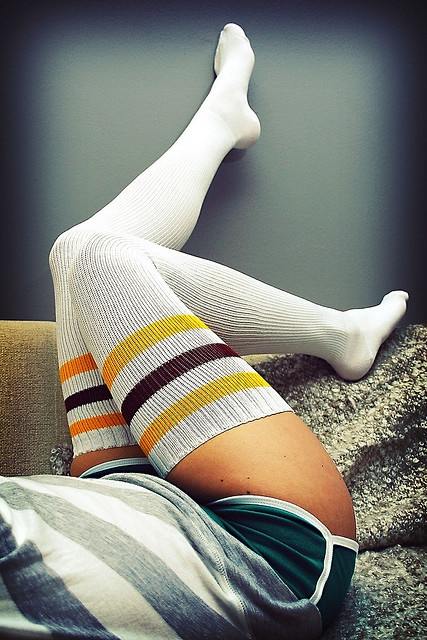 Thigh-high socks.