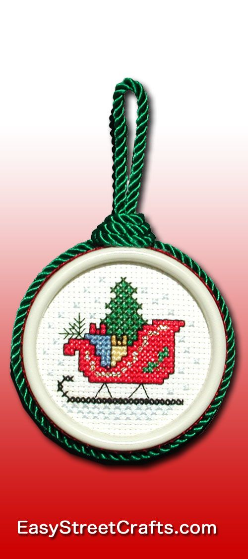 """READY FOR DASHER AND DANCER ETC. and SANTA!  Cross-stitch Chart is in """"Stitch Christmas Ornaments All Year 'Round"""" booklet. EasyStreetCrafts.com"""
