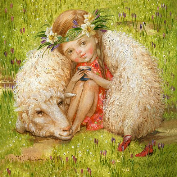 Art print giclee Sheep of my oil painting in my etsy shop ArtFable. http://derevyanko-art.com/en/index.html