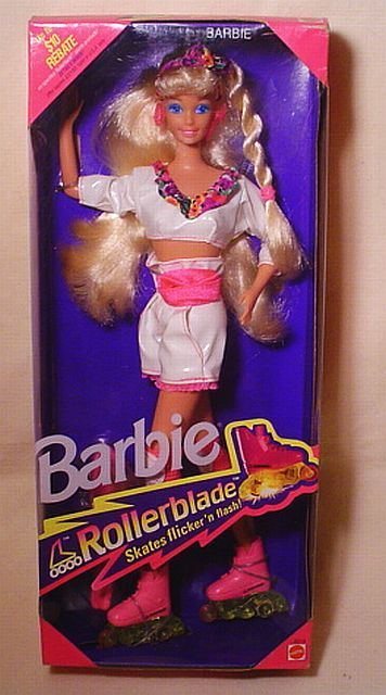 "1991 Rollerblade Barbie - I can still feel the ""spark"" of those skates while running them along the furniture."