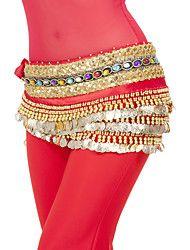 Danza del Vientre Pañuelos de Cadera para Danza del Vientre Mujer Entrenamiento Representación Poliéster Monedas 1 Pieza Cintura Media