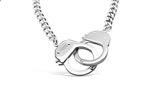 Handcuff Necklace in Stainless Steel by Silver Phantom Jewelry. Read more description on the website.