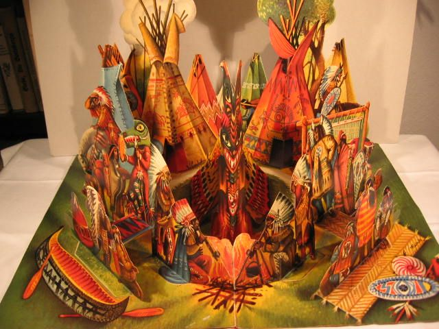 """Panorama - Indianerdorf"" Pop-up Book by Vojtěch Kubašta 