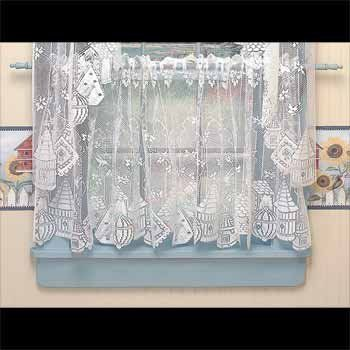 curtains white polyester tier curtains birdhouse lace sheers 30 x 60 in - Tier Curtains