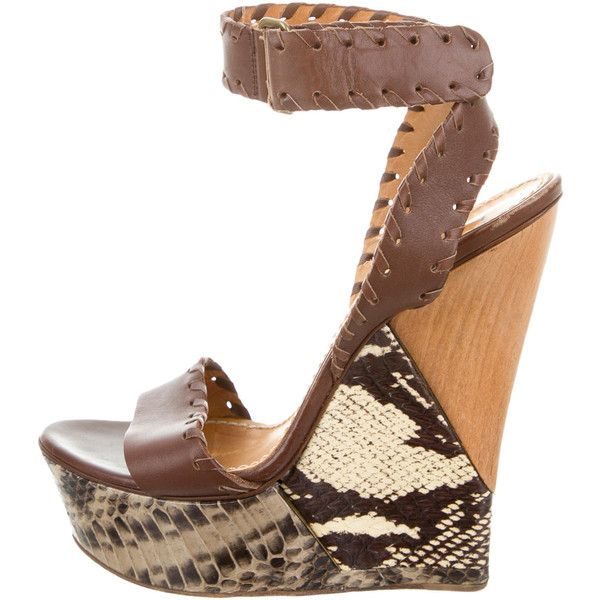 Pre-owned Lanvin Snakeskin Platform Wedges ($200) ❤ liked on Polyvore featuring shoes, brown, snake skin shoes, pre owned shoes, snakeskin shoes, buckle shoes and platform wedge shoes