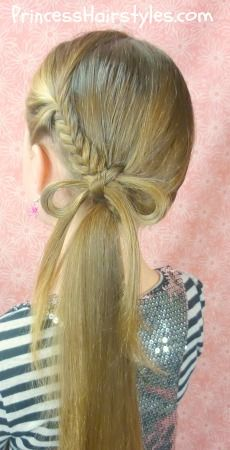 fishtail braid bow ponytail tutorial