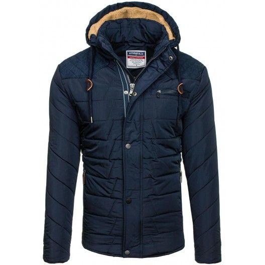 Krátke pánske bundy na zimu v tmavomodrej farbe - fashionday.eu