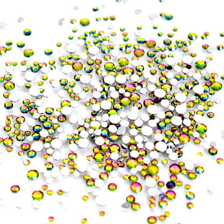 Mix Sizes Crystal Flame Rainbow Rhinestones For Nails Design Gems Glass Rhinestones Mix 3d Nail Art Decorations MJZ1072 #Affiliate