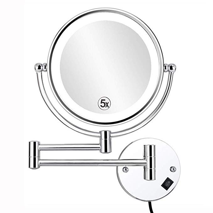 Alhakin 8 5 Inch Led Lighted Wall Mounted Makeup Mirror With 5x Magnification Double Sided Swivel Vanity Mirro Wall Mounted Makeup Mirror Mirror Makeup Mirror Lighted wall mounted make up mirror