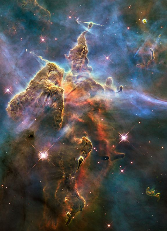 The Hubble Space Telescope: A 25th Anniversary Photo Celebration - Hubble captured this view of a stellar nursery called the Carina Nebula, which lies 7,500 light-years from Earth, on Feb. 1-2, 2010.