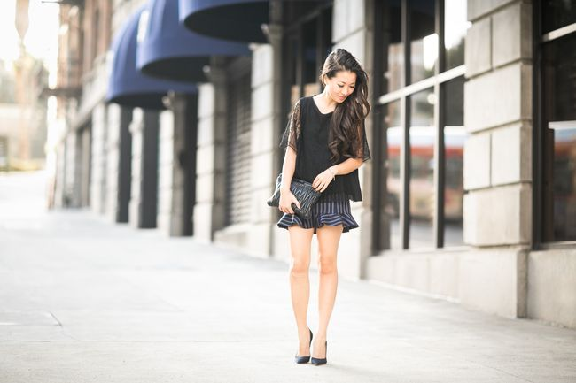 Flowy Structure :: Lace tee & Ruffled skirt