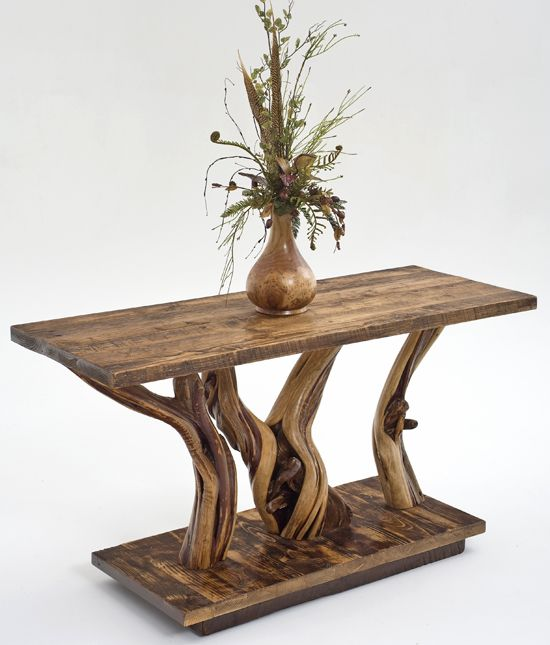 Rustic Sofa Table - Solid Juniper with Salvaged Barnwood Base - Item  #ST04405 - Custom