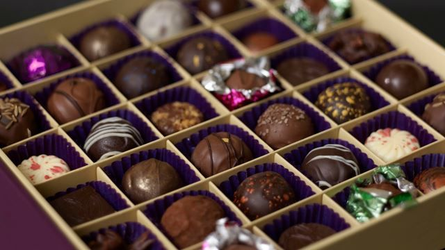 chocolate truffles at Paul A Young chocolate shop