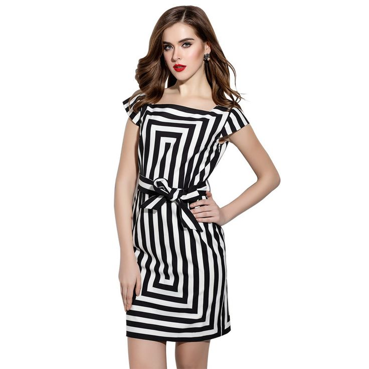 Ladies Elegant Striped Dress, Black & White, Short Sleeves