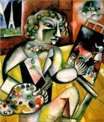 Marc Chagall self portrait with 7 digits