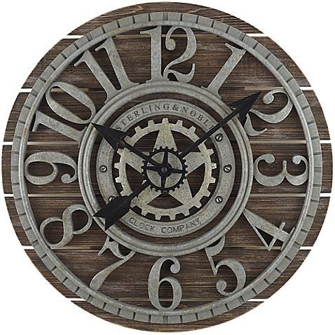 A charming and functional accent, this Farmhouse Wall Clock by Sterling & Noble will be at home anywhere you placed it. Features whitewashed finish, antique zinc grills with raised Arabic numbers and gear accent hands with quiet movement.