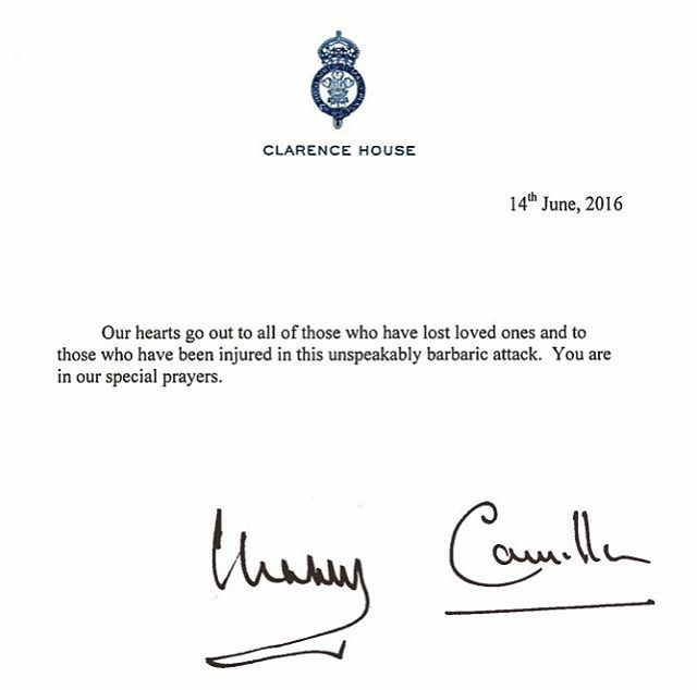 "Instagram@clarencehouse clarencehouse""To those who have lost loved ones and to those who have been injured...you are in our special prayers."" The Prince and The Duchess sent this special message of condolence to families and friends who have lost loved ones and to those who have been injured in the Orlando shooting."
