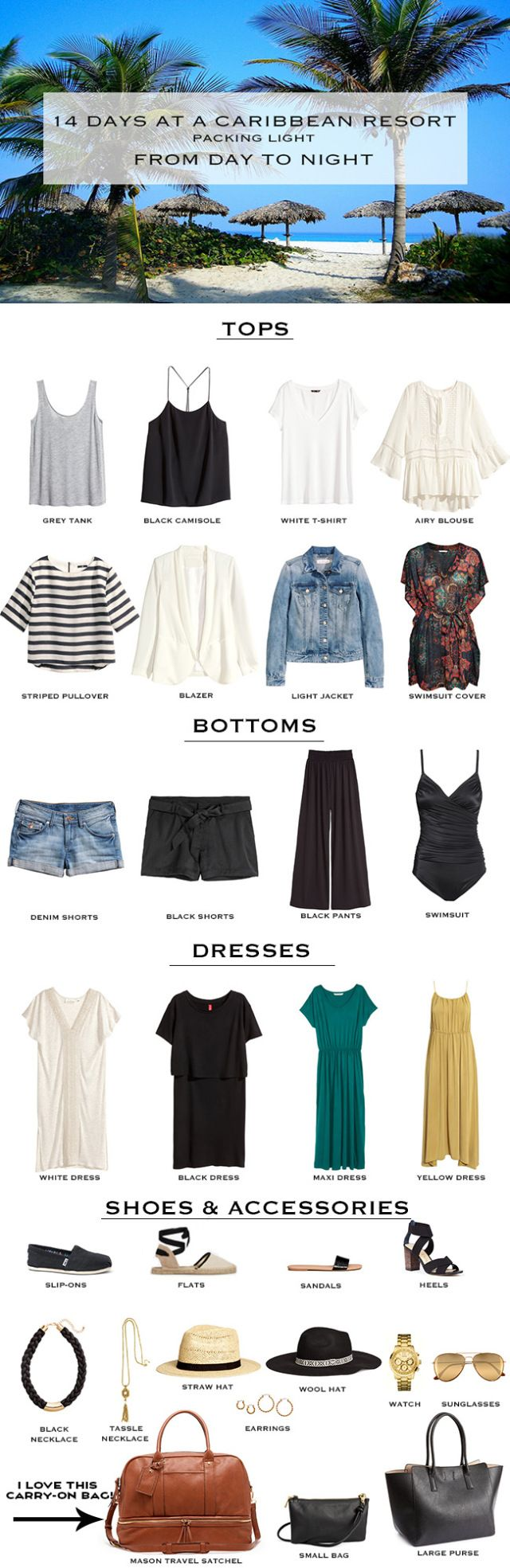 !4 Day Caribbean Resort Packing List. Packing Light, Packing in a carry-on. #travellight #packinglight #packinglist
