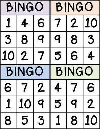 Bingo for Numbers 1-10. Great for preschool number identification.