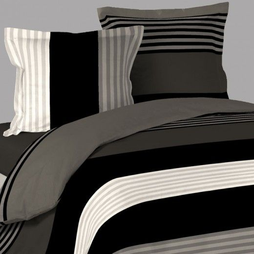 housse de couette original raye marron 2 taies. Black Bedroom Furniture Sets. Home Design Ideas