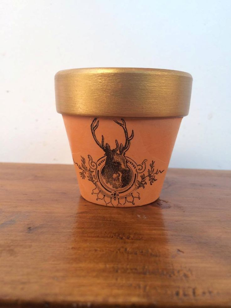 6cm Hand Painted Gold Metallic Rim Terracotta Pots with Reindeer Head Bust. by MagnoliaStudioAU on Etsy