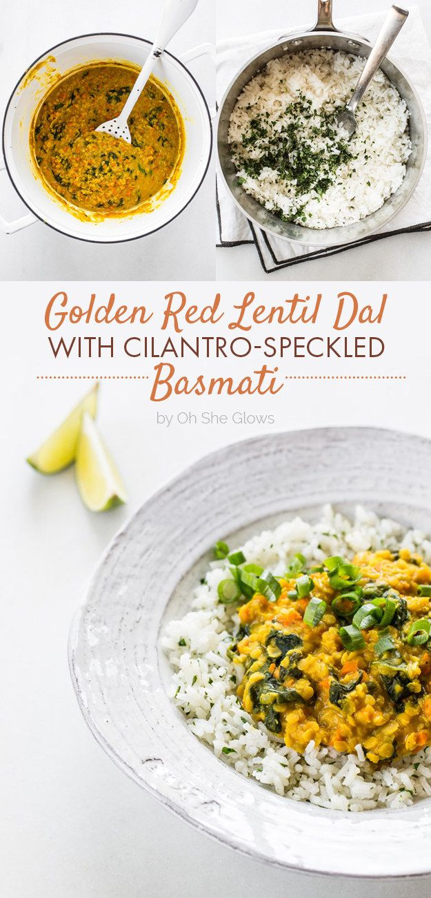 Golden Red Lentil Dal with Cilantro-Speckled Basmati (by Oh She Glows)