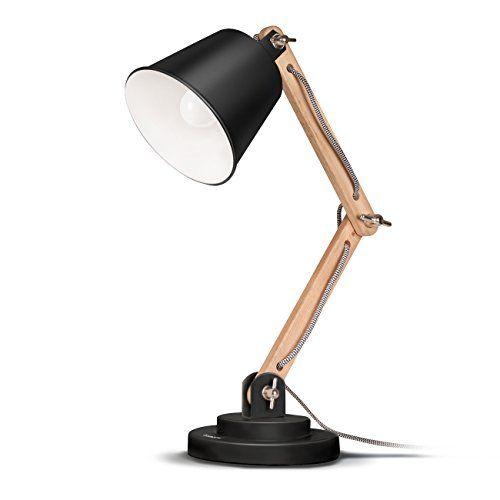 Tomons Scandinavian Desk Lamp, Natural Wood Table Lamp, R…
