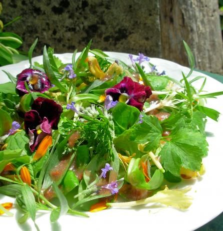 Watercress, spring onions, sorrel leaves, lamb's lettuce, radishes, sage, mint, with an olive oil, lemon juice and honey dressing, decorated with edible flowers: calendula, roses, primroses, lavender, blue borage, violets, nasturtiums, pansies, marigolds