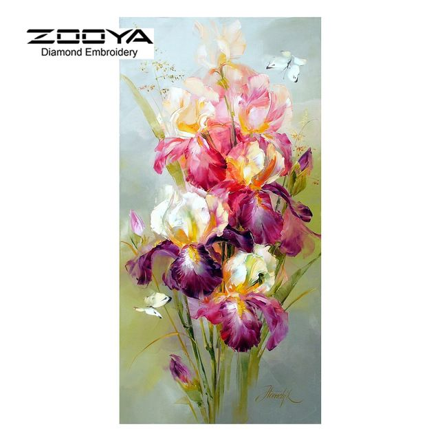 Better Deal $8.69, Buy Products For Crafts Diamond Embroidery Flowers Colorful Iris Painting Rhinestones Mosaic Kit Pictures Of Crystals Pattern BJ332