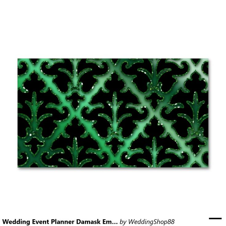Wedding Event Planner Damask Emerald Green Sparkle Double-Sided Standard Business Cards (Pack Of 100)