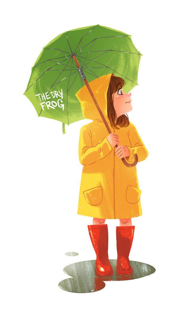 Девочка под зонтиком открытка, открытки здравствуй