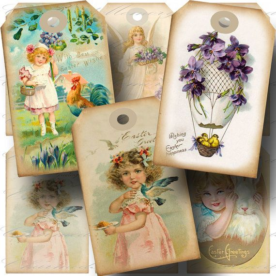 Vintage Easter Hang Tag 4 Printable by CharmedMemoryCollage, $3.50
