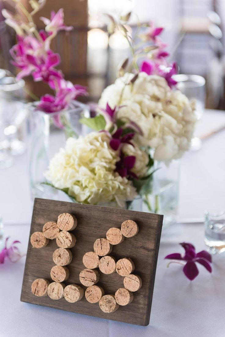 Wine Cork Wood Table Number with Purple White Centerpiece / San Diego Wedding / Venue: Marina Village / Planning, Design and Coordination: Events Inspired / Photography: Jessica Fraser Photography / Floral: Diane's Flowers Please