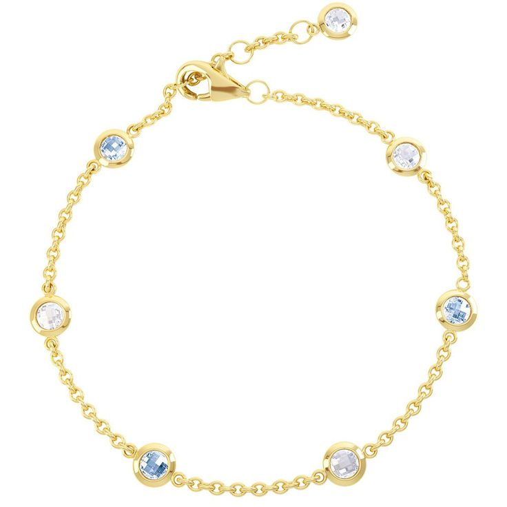 By the Yard Aquamarine and White Sapphire 18ct Gold Vermeil Bracelet