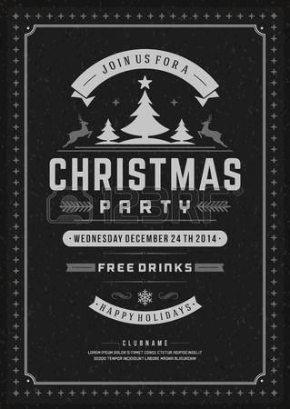 Weihnachtsparty Einladung Retro Typografie und Ornament Dekoration. Weihnachten Flyer oder Poster-Design. Vektor-Illustration Eps 10. Lizenzfreie Bilder - 33518349
