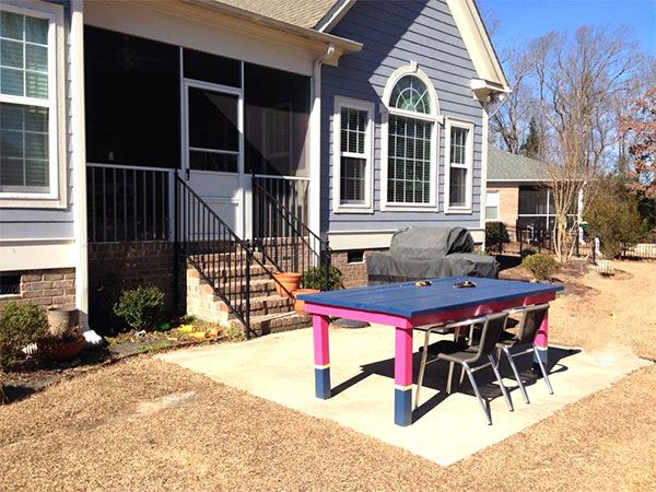 A small patio before a patio makeover